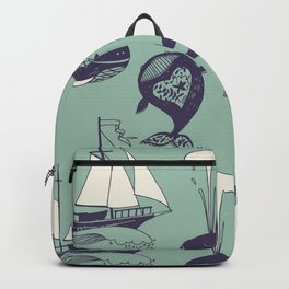 Pattern with marine motifs. Yachts, funny whales, carefree sunny voyage. Backpack
