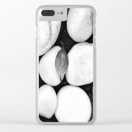 Zen White Stones On A Black Background #decor #society6 #buyart Clear iPhone Case