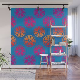 Tropical exotic juicy neon pink and yellow orange citrus slices decorative summer fruity moody blue whimsical cute pattern design. Wall Mural