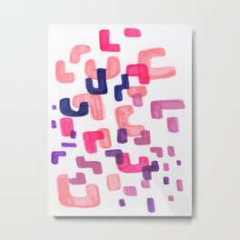 Mid Century Modern Abstract Organic Pattern Shapes Colorful Pastel Pink Purple Metal Print