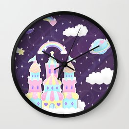 Dreamy Cute Space Castle Wall Clock