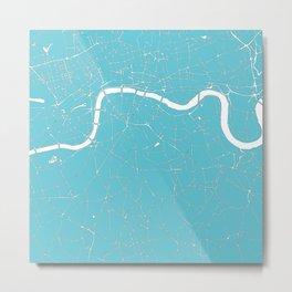 London Turquoise on White Street Map Metal Print