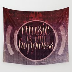 music is my happiness | music theme Wall Tapestry
