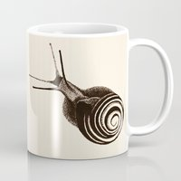 snail Mugs featuring  Snail. by Assiyam
