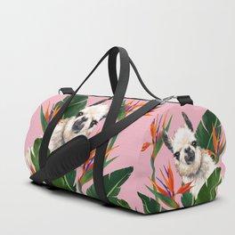 Llama in Bird of Paradise Flowers Duffle Bag