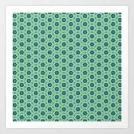 blue green star pattern Art Print