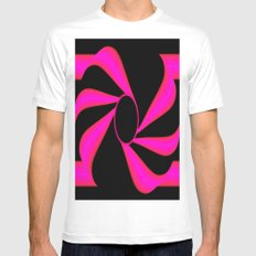 Abstract. Pink+Black Dot. MEDIUM White Mens Fitted Tee