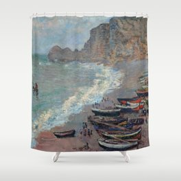 Boats on the Beach at Etretat by Claude Monet Shower Curtain