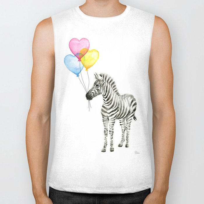 Zebra Watercolor With Heart Shaped Balloons Whimsical Baby Animals Biker Tank