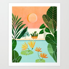 Shangri La Sunset / Exotic Landscape Illustration Art Print