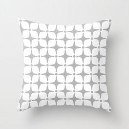 Mid Century Modern Star Pattern Gray Throw Pillow