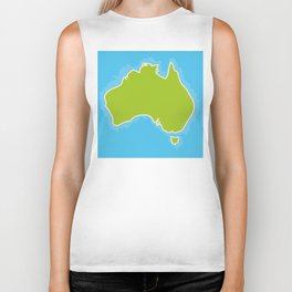 map of Australia Continent and blue Indian Ocean. Vector illustration Biker Tank
