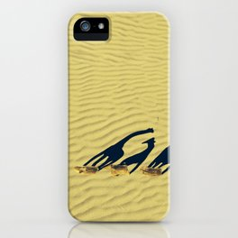 Extended long giraffes' shadows iPhone Case
