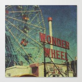 Wonder Wheel at Coney Island luna park, New York,  scaned sx-70 Polaroid Canvas Print