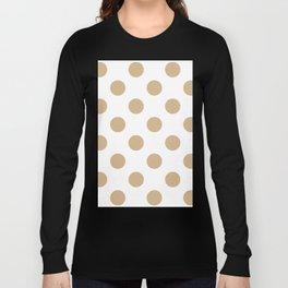Large Polka Dots - Tan Brown on White Long Sleeve T-shirt