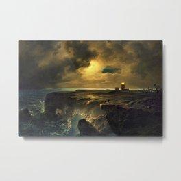 'After the Storm' landscape coastal painting by Christian Ernst Bernhard Morgenstern Metal Print