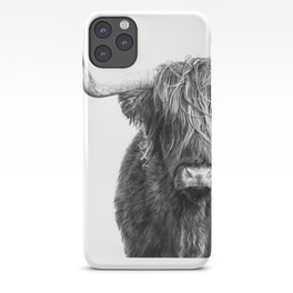 Highland Cow Portrait - Black and White iPhone Case