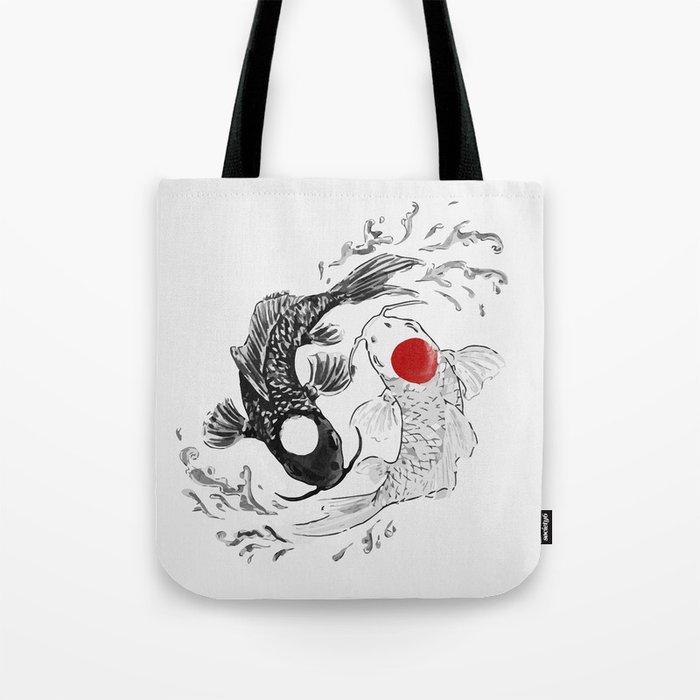 Koi fish ying yang Tote Bag