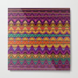 Retro Vibrant Lines Print 1 Metal Print