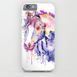 Horse Head Watercolor Portrait iPhone Case