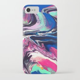7 Layers of Midnight Acrylic Pour iPhone Case