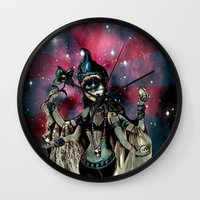 shiva Wall Clocks featuring cosma shiva by Abraxas (luciana cabane)