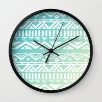tribal Wall Clocks featuring Tribal  by Julia