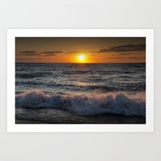 Lake Michigan Sunset with Crashing Shore Waves Art Print