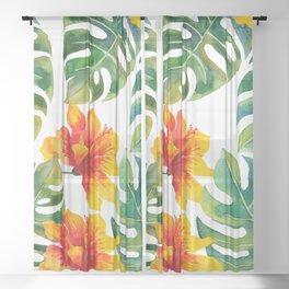 Monstera And Hibiscus Sheer Curtain