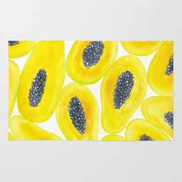 Papaya slices watercolor Rug