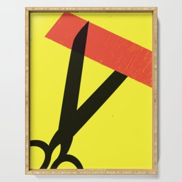 Cutting the Red Tape. Black Scissors and Yellow Background. Serving Tray