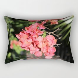 Hot Coral Floral Rectangular Pillow