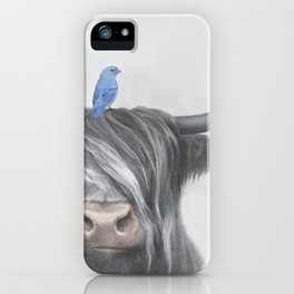 Scottish Cow & Blue Bird iPhone Case