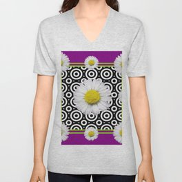 Modern Style Shasta Daisies Purple Unisex V-Neck