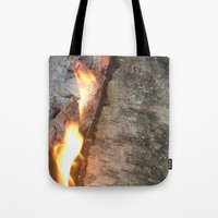 swedish Tote Bags featuring Swedish fire by ilsephilips