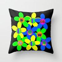 60s Throw Pillows featuring Flower Power 60s-70s by dedmanshootn