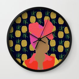 Pineapple Bawse Babe (Blue) Wall Clock