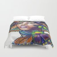 egyptian Duvet Covers featuring Egyptian Queen by Thea Maia