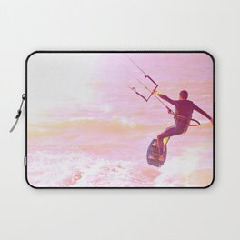 Kitesurfer at sunlight. Back view. Unrecognizable Laptop Sleeve