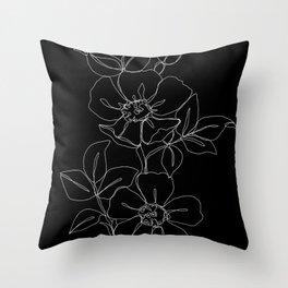 Botanical illustration one line drawing - Rose Black Throw Pillow
