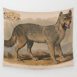 Vintage Illustration of a Gray Wolf (1874) Wall Tapestry