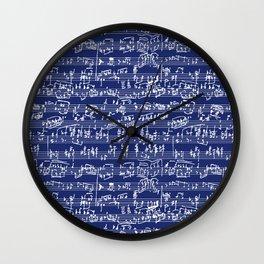 Hand Written Sheet Music // Midnight Blue Wall Clock