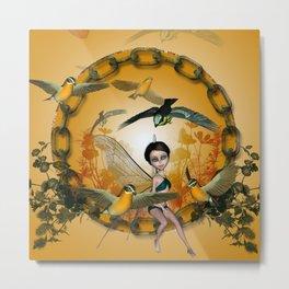 Cute fairy with songbirds Metal Print
