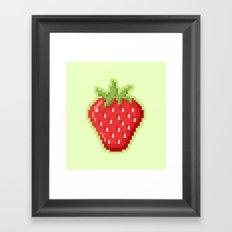 Pixel Strawberry Framed Art Print