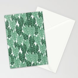 Alocasia indoor house plant hipster watercolor plant pattern botanical leaves green painting home Stationery Cards