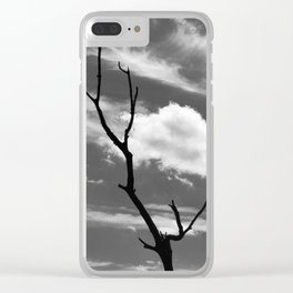 Black and white dead tree and sky with wispy clouds Clear iPhone Case