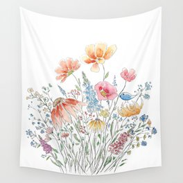 wild flower bouquet and blue bird- ink and watercolor 2 Wall Tapestry