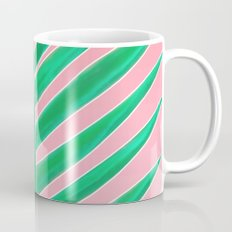 Modern green tropical palm tree leaf watercolor on pink Mug
