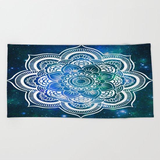 Mandala : Blue Green Galaxy Beach Towel