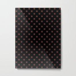 Coral Pink on Black Snowflakes Metal Print